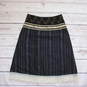 Anthropologie Snak Black Silk Skirt, Embroidered